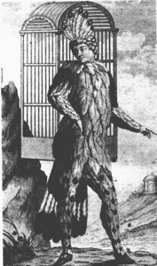 """""""Papageno"""" - der Vogelfänger. Emanuel Schikaneder trug dieses Kostüm. Stich von Ignaz Alberti"""