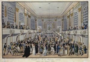 Joseph Schütz: Maskenball im Redoutensaal der Wiener Hofburg um 1815, Radierung, koloriert © Wien Museum