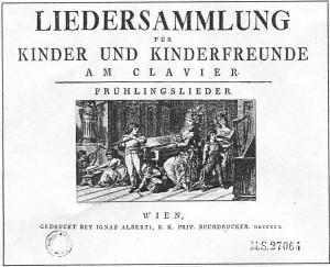 Titelblatt einer Sammlung, für die Mozart drei Kinderlieder schrieb (KV 596-598). Vignette von Klemens Kohl nach Johann Christian Sambach, 1791